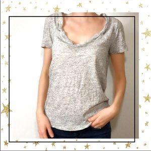 Three Dots Grey Scoop neck short sleeve cotton tee
